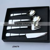 Hammered steel Cutlery flat handle set in mirror polish