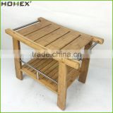 Bamboo Shower Bench Storage Shelf Bathroom Seat Homex BSCI/Factory
