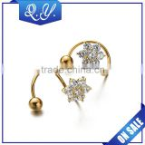 New Charming Zircon Lip Jewelry Gold Plated Stainless Steel Spiral Twisted Lip Piercing Ear Rings labret Jewelry