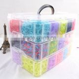 High Quality Rubber Loom Band Kit Kids DIY Bracelet Silicone Crazy Loom Bands 3 layers Box Family Loom Kit Set Refills
