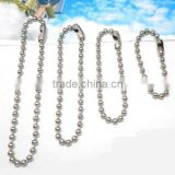 Multi Sizes Silver Tone Ball Chain With Connector For Jewelry Diy