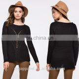 OEM ladies winter scoop neck split side cable knit pullover sweater