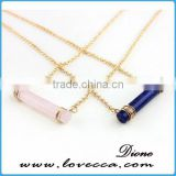 HOT Selling~ Fashion lapis lazuli Stone round bar shape chain necklace