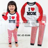 Red long sleeve white red stripe pants i love mom pattern baby brand pyjamas