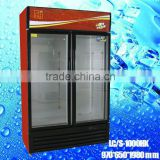 LC/S 1000HK used glass door display freezers drink milk drug fridge Upright Commercial Double Glass Door