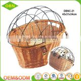 Wholesale removable bike basket pets front wicker bicycle basket for dogs