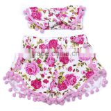 Exporting childrens pom pom shorts printed with flower pompom shorts with headband