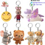 Custom Animal Key Chain Owl Shark Monkey Rabbit Koala Unicorn Elephant Bunny Emoji Teddy Bear Lion Plush Keychain