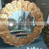 gold plated metal modern design mirror