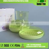 Novetly Plastic Oblong 3pcs Green Cheap China Bathroom Accessories Set