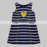 Karen Dress With Heart Patch Navy Stripe For Kids