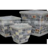 Flower cement planters with slate