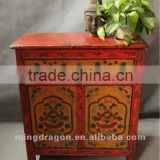 Chinese antique furniture red& orange double door one drawer pine wood Tibet cabinet