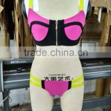 New Fashion 2016 Sey Hot Pink 2 Piece Bikinis Set Black Bandage Swimsuit Women's Fashion Bathing Suit Swimwear