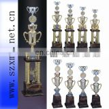 2013 big plastic silver trophy cup with top medal for sports