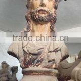 antique imitation hand carved wooden Christian statue bust statue Jesus bust statue sculpture