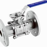 stainless steel CE certified 3-pc flanged ball valve with direct mounting pad  DIN norm