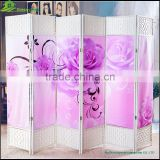 Canvas printing wood folding partition screen hanging folding screen sliding doors interior room divider GVSD011