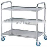 Four wheels three layers of silver hotel shopping trolley