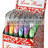 "36pcs Tiny Silk Love Roses in 4"" Glass Tubes"