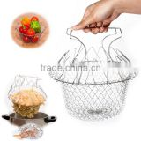 2016 New Arrival Hot Sale Foldable Steam Rinse Strain Fry Chef Basket Strainer Net Kitchen Cooking Too