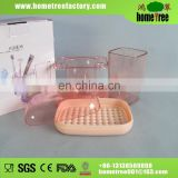 Transparent Red Plastic Rectangle 3pcs Bathroom Sanitary Set China