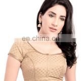 GOLD BROCADE READYMADE BLOUSE FOR WOMEN