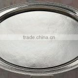 Silver plated oval dish tray with handle , Room service tray, Airlines service tray, Decorative tray, Arabic metal tray