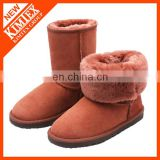 wholesales winter leather suede artificial wool boots