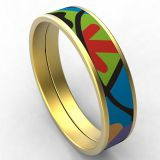 Stainless Steel Gold Plated Bracelet Women Colorful Enamel Bangle