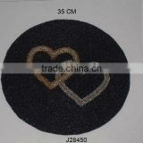 Double heart round Glass bead place mat other colours also available