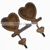 Metal decorative HEART hook with Ceramic knobs, Home decoration hook, metal wall art hooks, European style hook, Vintage hooks