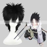High Quality 35cm Short Straight Naruto Wig Uchiha Sasuke Black Wig Cosplay Synthetic Anime Wig Cosplay Hair Wigs