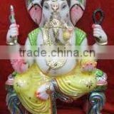 Indian Hand Crafted Art Lord ganesha White marble statue Sculpture handicraft handmade stature stone