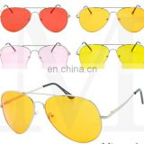 Classic VTG Pilot Sunglasses Teardrop Yellow Colored Lens Night Driving Fashion AS025