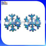 Custom Snowflake Christmas <b>Jewelry</b> 925 Sterling Silver Blue <b>Opal</b> <b>Inlay</b> Snowflake Stud Earrings