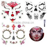 Halloween Dress Up Skull Waterproof Face Stickers for Party Favors