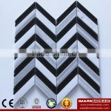 IMARK Design Provisions White Mix China Hainan Black Herringbone Marble Mosaic Wall Tile