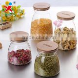 Round Borosilicate Glass Cans with Bamboo Lid for Dry Food
