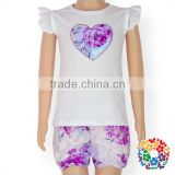 boutique summer baby girls purple floral heart flutter sleeve shirt shorts matching clothing set