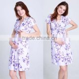 hot sale lavender blossom printed knot front maternity dress pregnant women cap sleeve sexy deep v neck western maternity dress