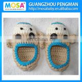 Crochet Baby Boy Booties Sock Monkey Blue Beige Shoes ,Newborn Baby Slippers