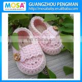 Wholesale Crochet Newborn Girl Mary Jane ,Baby Girl Pink Booties ,Baby Shoes
