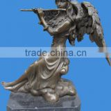 Lady Life Size Casting Bronze Statue with Stone Base