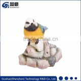 Handmade resin bird stand on stone figurines desktop ornaments