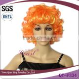 cheap short synthetic curly orange afor wigs for party