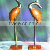 Cast brass wood home decoration Crane Bird Pair