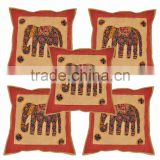 Rajasthani Elephant Design Embroidered Cushion Covers