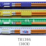 Promotional stationery set logo printed ruler with eraser and pencil set
