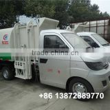 karry gasoline 75HP side barrel lifting mini garbage trucks for sale